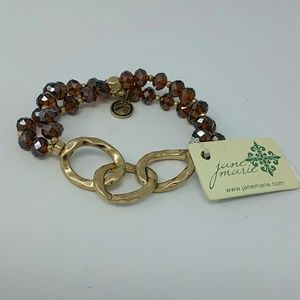 NWT Jane Marie Gold link and crystal bracelet